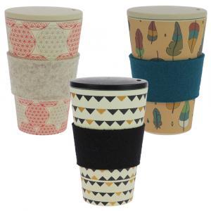 Coffee-to-Go-Becher Bambus 3er Set, B.d.L., Gadenparty, Zauberfeder, 400 ml
