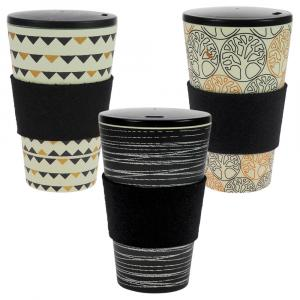 Coffee-to-Go-Becher Bambus 3er Set, O.L.E., Gadenparty, Baum des Lebens B&G, 400 ml