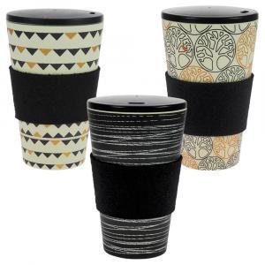 Coffee-to-Go-Becher Bambus 3er Set, O.L.E., Gadenparty, Baum des Lebens B&G, 400 ml