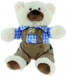 Teddybär weiss, Lederhose