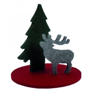 Weihnachtsdeko-Set Filz, Hirsch/Tannenbaum, 3-teilig