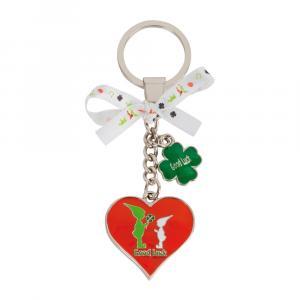 Schlüsselanhänger Herz/Wichtel, Rot/Grün/Silber