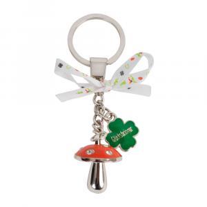 Schlüsselanhänger Pilz/Kleeblatt, Rot/Grün/Silber