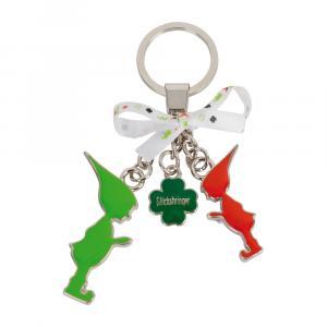 Schlüsselanhänger 2 Wichtel/Kleeblatt, Rot/Grün/Silber