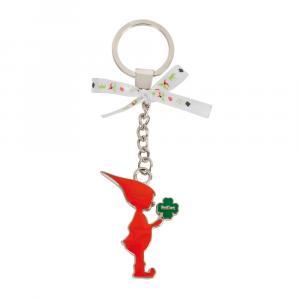 Schlüsselanhänger Wichtel, Rot/Grün/Silber