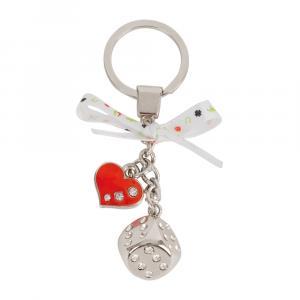 Schlüsselanhänger Würfel, Silber/Rot
