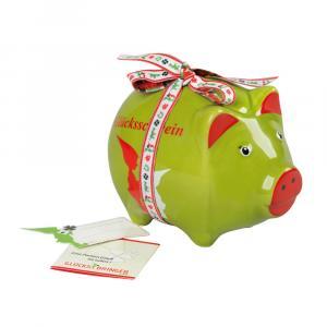 Sparschwein Glück, Grün/Rot