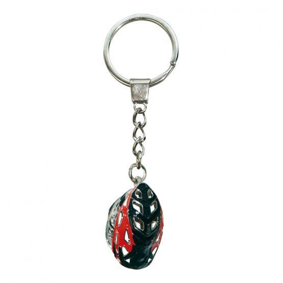 Schlüsselanhänger Fahrradhelm, Schwarz/Rot