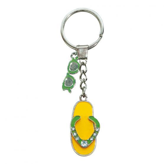 Schlüsselanhänger Flip-Flop/Sonnebrille, Gelb/Grün