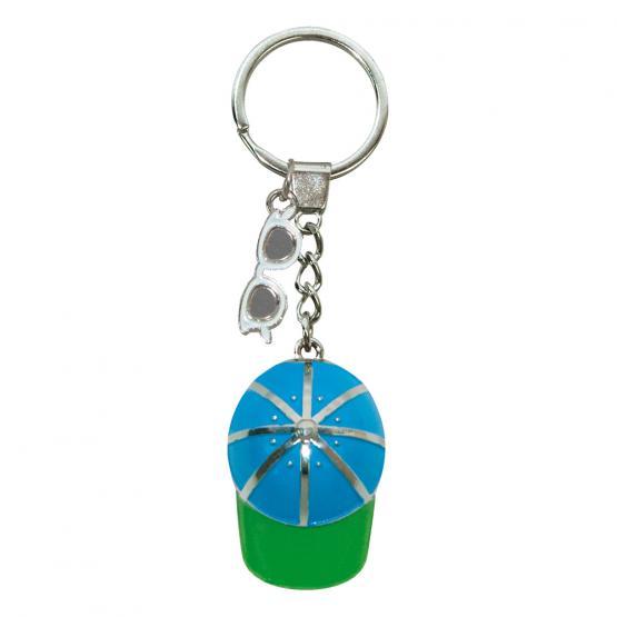 Schlüsselanhänger Cap/Sonnenbrille, Blau/Grün