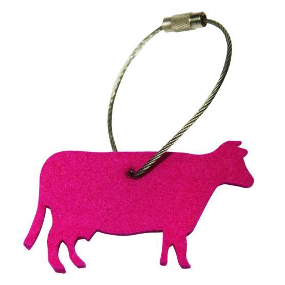 Schlüsselanhänger Filz, Kuh, Pink
