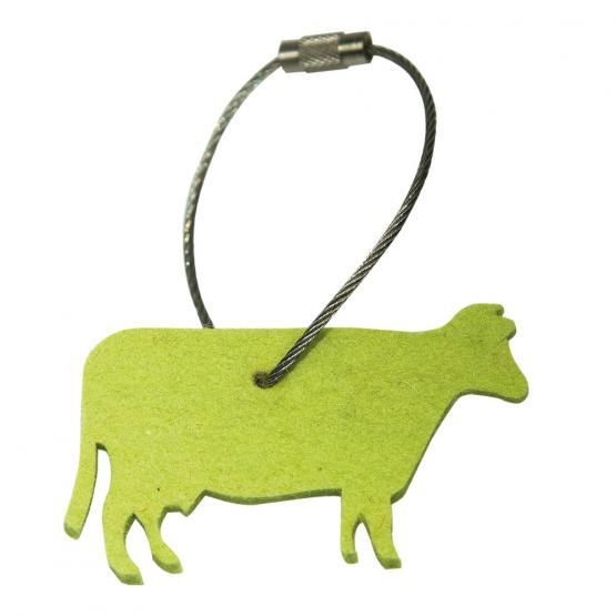 Schlüsselanhänger Filz, Kuh, Gelbgrün