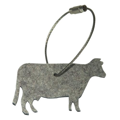 Schlüsselanhänger Filz, Kuh, Hellgrau