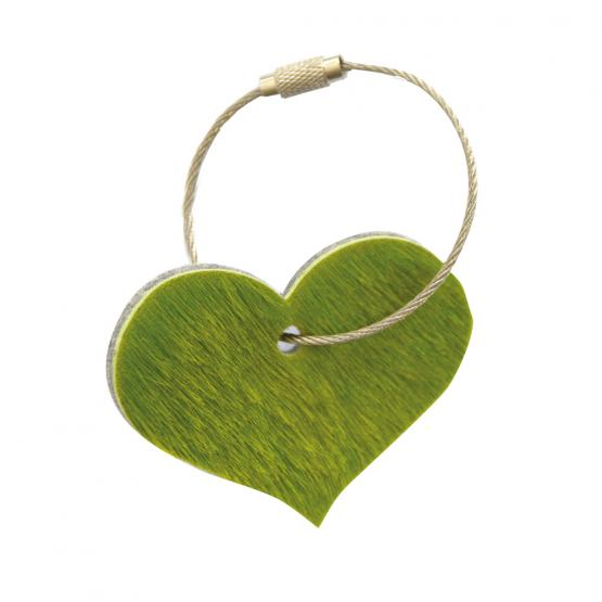 Schlüsselanhänger Herz Kuhfell grün / Wollfilz hellgrau