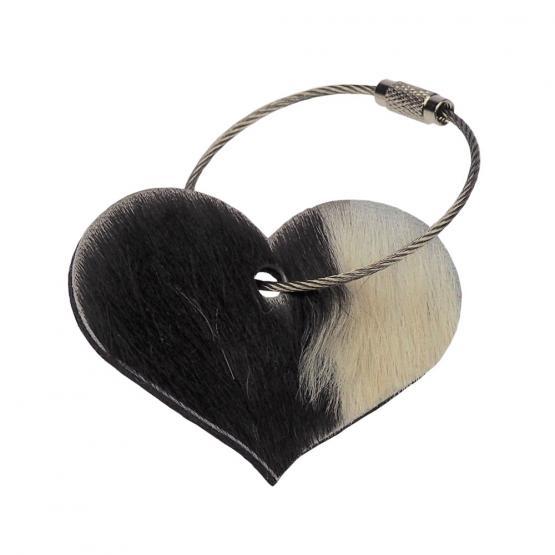 Schlüsselanhänger Herz Kuhfell grau / Wollfilz grau