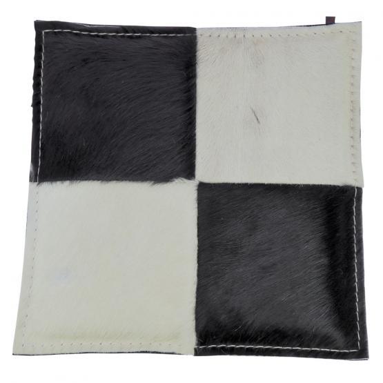 Kuhfell Kissen, Schachbrett, Schwarz-Weiß/Grau, 40 x 40 cm