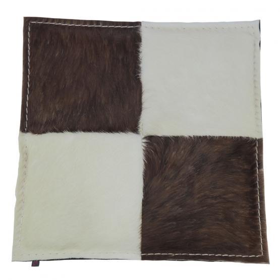 Kuhfell Kissen, Schachbrett, Braun-Weiß/Braun, 40 x 40 cm