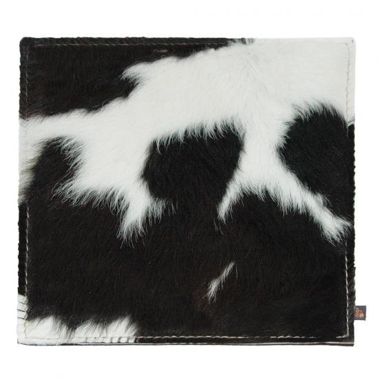 Kuhfell Kissen, Schwarz-Weiß/Grau, 40 x 40 cm