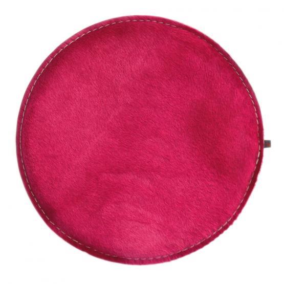 Kuhfell Kissen Rund, Pink/Hellgrau, Ø 40 cm