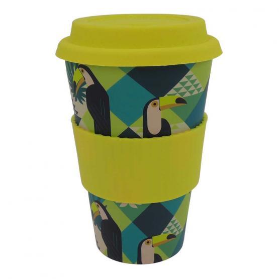 Coffee-to-Go-Becher Bambus, Exotic Birds, 400 ml