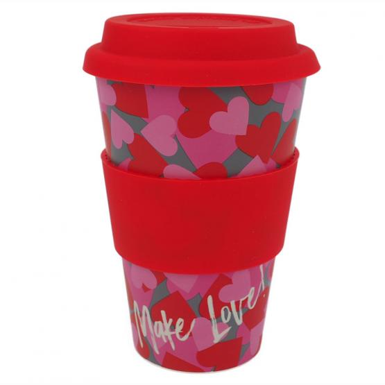 Coffee-to-Go-Becher Bambus, Heart Stamps, 400 ml