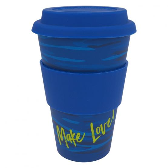 Coffee-to-Go-Becher Bambus, Runny Blue, 400 ml