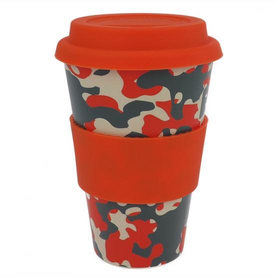 Coffee-to-Go-Becher Bambus, Carmouflage Orange, 400 ml