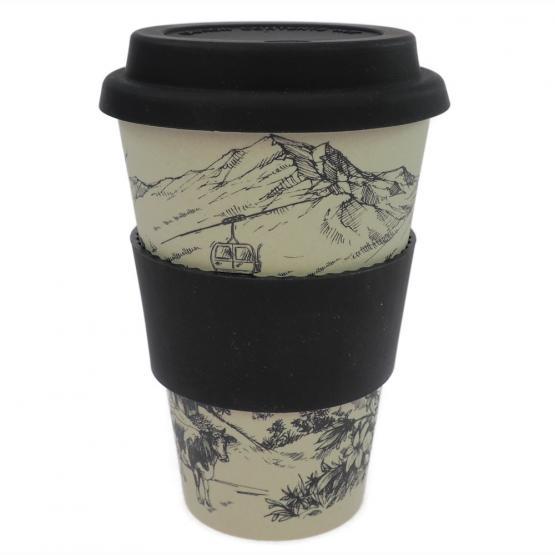 Coffee-to-Go-Becher Bambus, Alpenglück, 400 ml