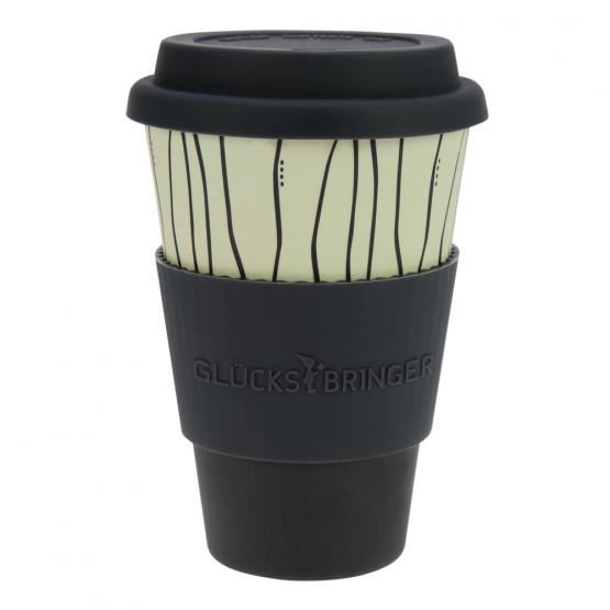 Coffee-to-Go-Becher Bambus, Dark Stripes, 400 ml