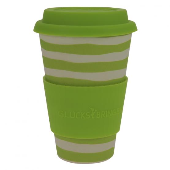 Coffee-to-Go-Becher Bambus, Green Lines, 400 ml