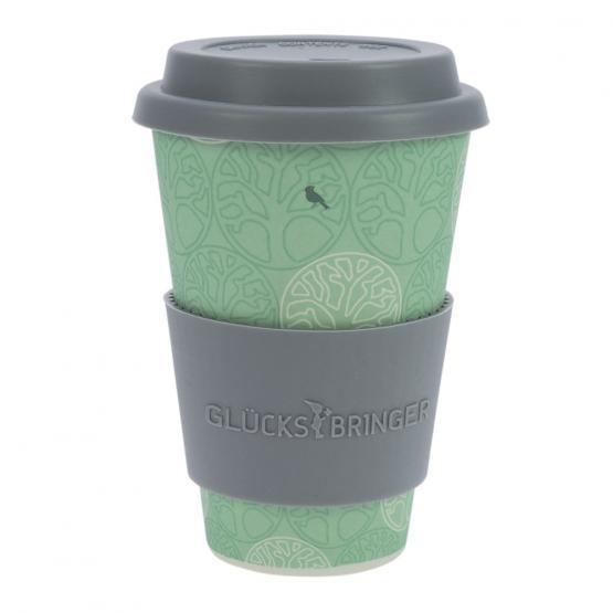 Coffee-to-Go-Becher Bambus, Blume des Lebens Mint, 400 ml