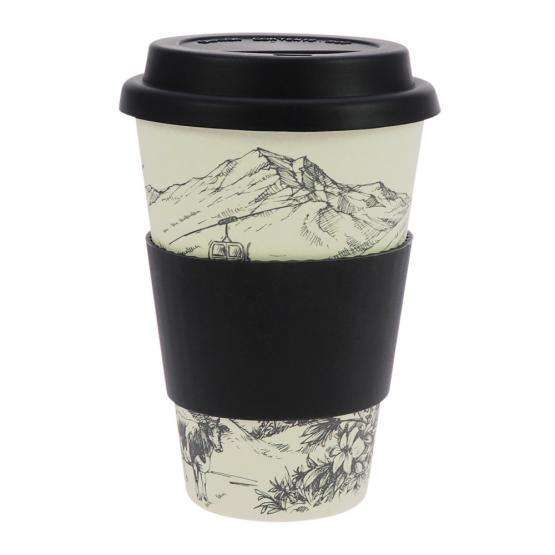 Coffee-to-Go-Becher Bambus, Alpenglück, 400 ml