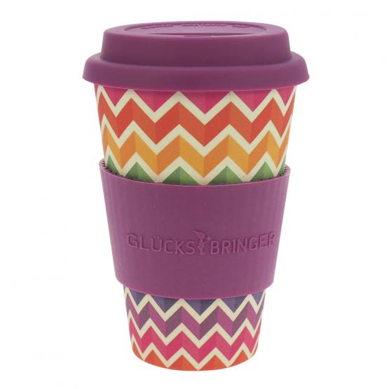 Coffee-to-Go-Becher Bambus, Jagged Rainbow, 400 ml