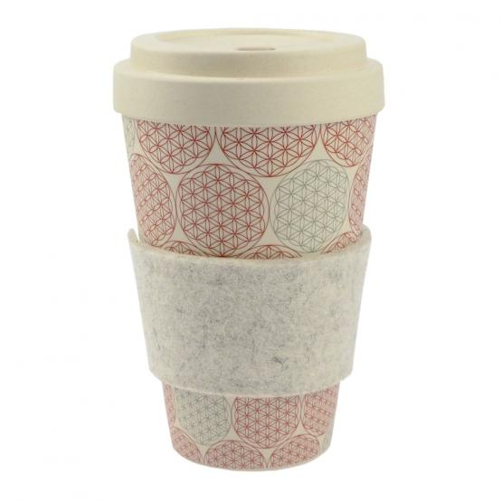 Coffee-to-Go-Becher Bambus, Blume des Lebens, 450 ml