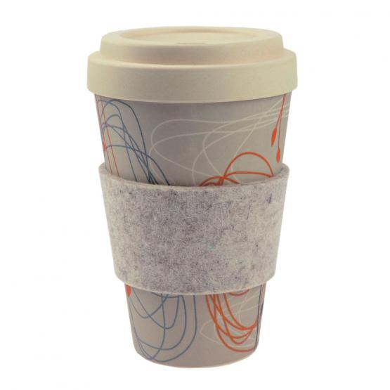 Coffee-to-Go-Becher Bambus, Kringel/Blüten, 450 ml