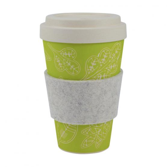 Coffee-to-Go-Becher Bambus, Glücksblatt, 450 ml