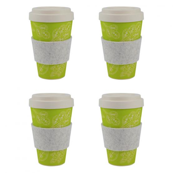 Coffee-to-Go-Becher Bambus 4er Set, Glücksblatt, 450 ml
