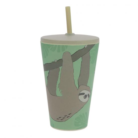 Smoothie-to-Go-Becher Bambus, Faultier, 400 ml
