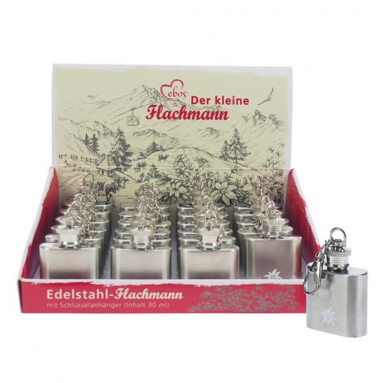 Box Edelstahl Mini-Flachmann, Edelweiß, 1 oz