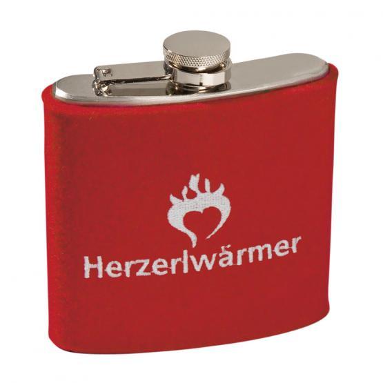 Edelstahl Flachmann Herzerlwärmer, Rot/Weiß, 6 oz