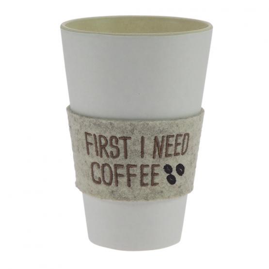 Bechermanschette Filz, First I need Coffee, Beige