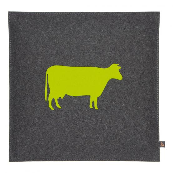 Filz Kissen Kuh, Grau/Gelbgrün, 40 x 40 cm