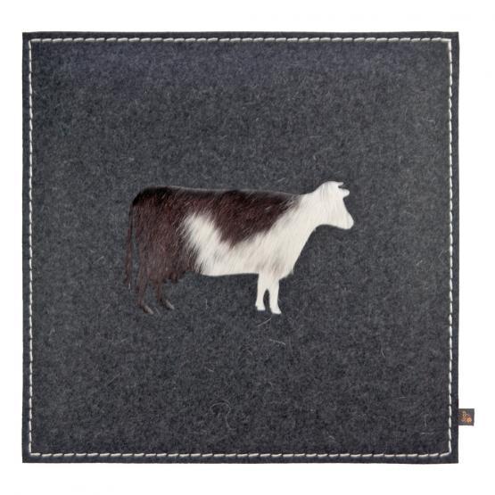Filz Kissen Kuh, Grau/Kuhfell Braun, 40 x 40 cm