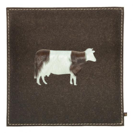 Filz Kissen Kuh, Braun/Kuhfell Braun, 40 x 40 cm