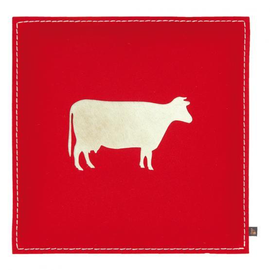 Filz Kissen Kuh, Rot/Kuhfell Hell, 40 x 40 cm