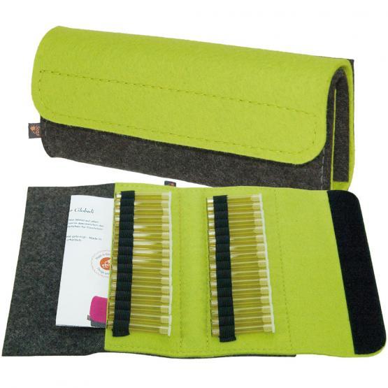 Taschenapotheke Globuli, Filz, 32 Schlaufen, Grau/Gelbgrün Grau/Gelbgrün