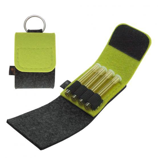 Taschenapotheke Globuli, Filz, 4 Schlaufen, Grau/Gelbgrün grau/gelbgrün