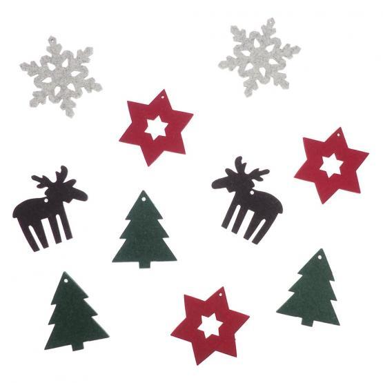 Weihnachtsdeko-Set Filz, Bunt, 10-teilig