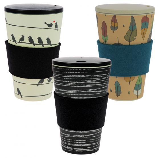 Coffee-to-Go-Becher Bambus 3er Set, O.L.E., Loving Birds, Zauberfeder, 400 ml