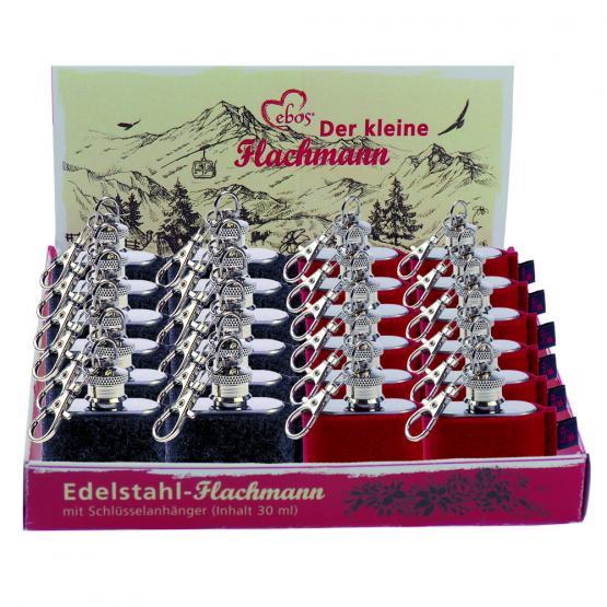 Box Edelstahl Mini-Flachmann, Wollfilz, Grau, Rot, 1 oz